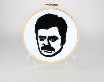 Ron Swanson Embroidery Hoop - Parks and Rec - 5 inch