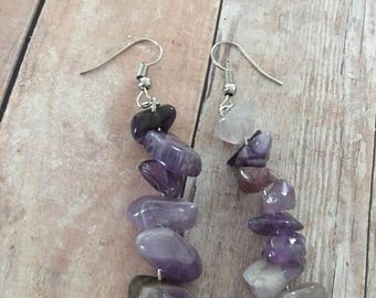 Purple Amethyst Chip Stone Earrings,Amethyst Earrings,Chip Stone earrings,Quartz, the Intuitive Eye
