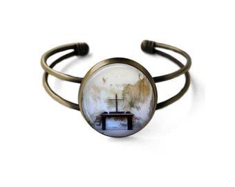 Old Wooden Cross Cuff Bracelet