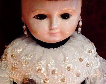 """Beautiful Antique German Wax-Over Doll ~ LARGE ~ 26"""""""