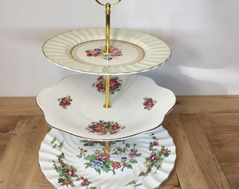 Vintage Mixed English Bone China 3 Tier Large Hostess Cakeplate Stand -