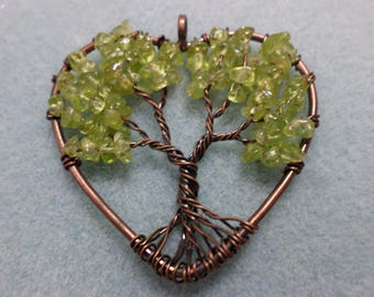 Peridot  Chipstone Tree of Life in Copper Heart