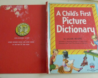 Vintage Wonder Book A Child's First Picture Dictionary by Lilian Moore First Edition