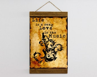 "Wood Frame Included Guitar Music Quote Canvas Print Wall Art 8.7'' x 11.8'' or 11.8"" x 15.7"" Canvas Illustration, Ready to Hang  b131"