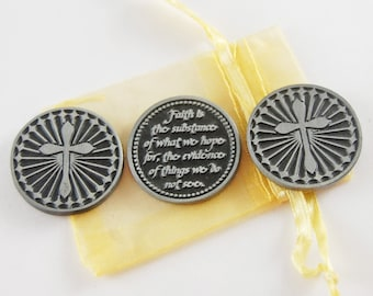 Set of 3 Faith is the Substance Pocket Tokens with Organza Bag