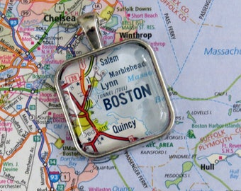 Boston, Massachusetts Pendant Made with Vintage Road Map