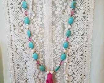 Hot Pink Tassel and Turquoise Colored Beads with Swarovski Bicones and swarovski 8mm PearlsNecklace and Earring Set