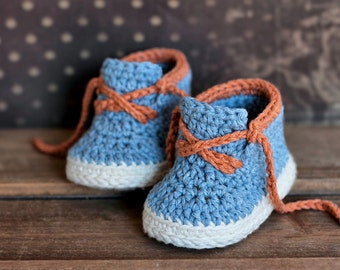 "Boys Crochet Bootie PATTERN boots for baby boys booties ""Brogue Boot"" Crochet Pattern, Blue Denim,  PATTERN ONLY"