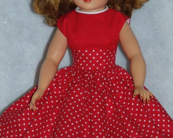 Red White Polka Dot Cotton Day Dress-- 20 inch Revlon Doll or American Character Toni Sophisticate