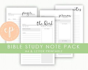 Bible Study & Prayer Journaling | Sermon Notes | Printable Bible Notes | Bible Study Notes Printable | Instant Download
