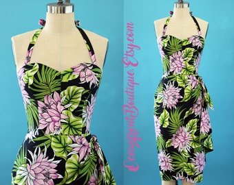 Hawaiian dress, Tiki dress, Pinup dress, sarong dress, Rockabilly dress, Tiki Oasis dress, Wrap dress, Oceanfront dress, vlv, XS - XXL