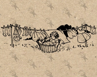 Vintage image drying Laundry Black & White Retro Drawing Instant Download Digital printable clipart iron on transfer tote towels HQ300dpi