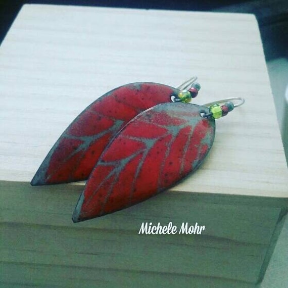 Slate Gray and Fire Orange Enamel Copper Leaf Earrings with Oxidized Sterling Silver Ear Wires