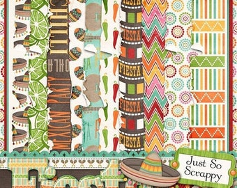 On Sale 50% Off Fiesta Worn and Torn Papers for Digital Scrapbooking
