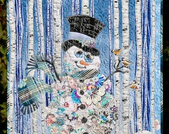 SIR FROSTY Original Collage Quilt Wall hanging Snowman Christmas Woodland Blue Sky Snowy Woods Aspen Tree White Plaid