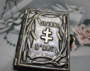 French Vintage Antique Joan of Arc Religious Book Locket