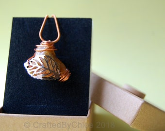 Unique, hand crafted copper and amber quartz necklace, handmade in the UK from Somerset quartz