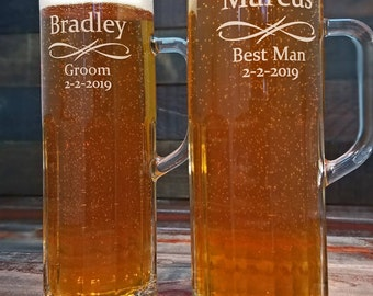 Beer Mugs Personalized, Custom Engraved Glasses, Engraved Beer Stein, Groomsmen Gifts, Best Man Gift, Father of the Bride Gift, Wedding Gift