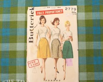 Vintage Sewing Pattern / Women's Skirt Pattern / Butterick 2779 / Hip 33 / Waist 24  / Simple Skirt Pattern / A Line / QUICK LIST
