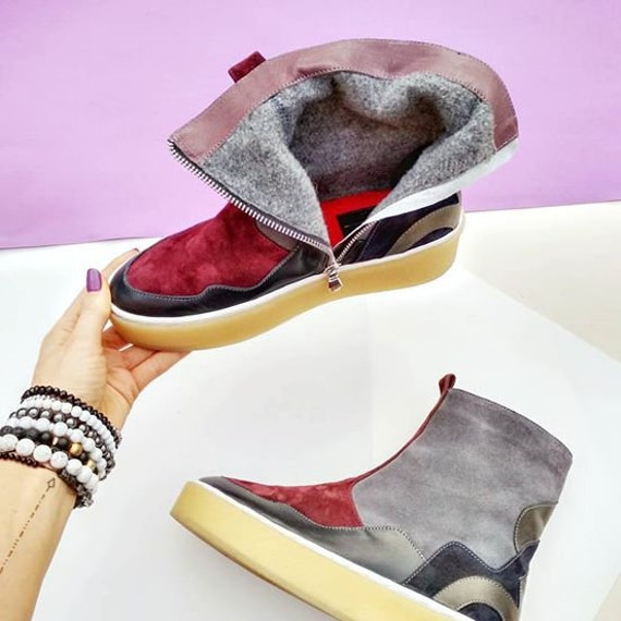 boots trendy Fall Flat shoes gift shoes Teen suede Platform shoes gray warm women idea ankle girl casual winter ankle Red TL0022 fqZ7rdqxwS