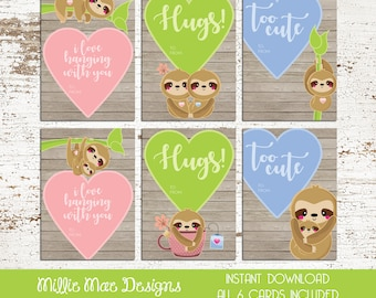 INSTANT DOWNLOAD - Cute Sloth Valentine's Day Cards