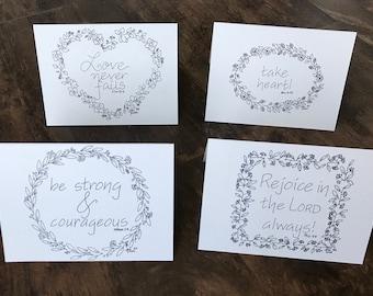 Set of four inspirational greeting cards