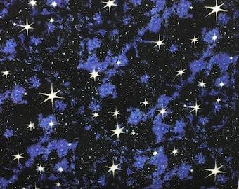 Galaxy/Night Sky Stars Cotton Fabric [[by the half yard]]