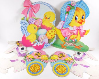 Easter Die Cut Cardboard Cutouts Decorations Lot Bunnies and Chicks