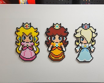 Princess Peach, Princess Rosalina, Princess Daisy, Super Mario Bros Perler, Bead Sprite, 8 Bit Pixel Art