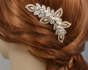 Soft Rose Gold Tone Cubic Zirconia Crystal Comb, Bridal Hair Jewelry, Swarovski Pearls - Will Ship in 3-5 Business Days