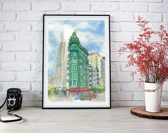 Watercolor Art Print - Columbus Tower & Transamerica Pyramid - San Francisco