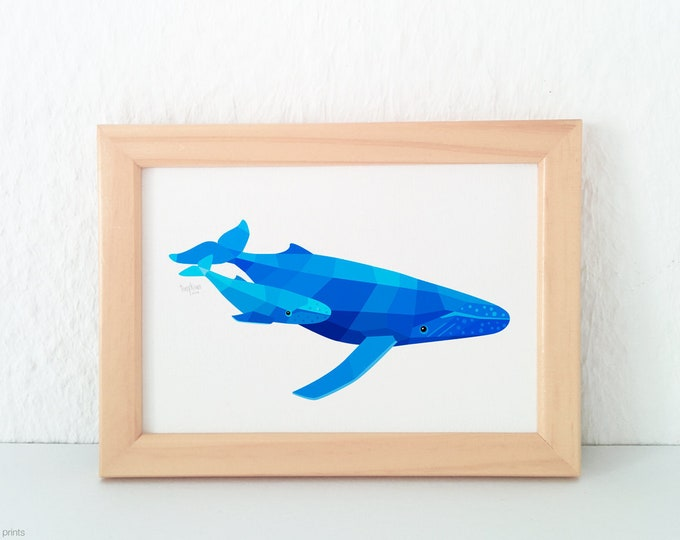 Whale nursery print, Humpback whale decor, Seawall decor, Under the sea, Nautical print, Kids bathroom art, Baby shower gift, Baby whale art