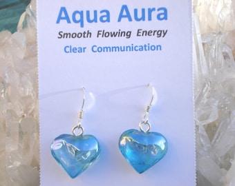 Aqua Aura Heart Earrings -Calming Love Energy- Sterling Silver settings- A Grade !  Beautiful
