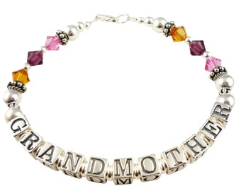 Grandmother Bracelet - Pink red and orange or any color or grandchildren's birthstones - any name or personalization
