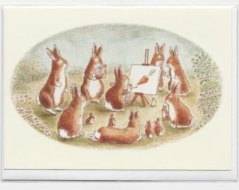 Bunny School, Birthday card, Greetings card, teacher card