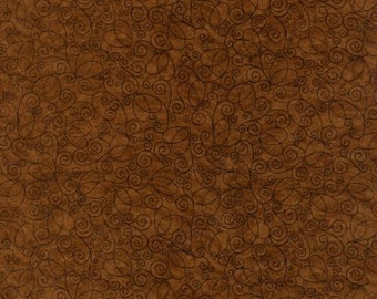 Cocoa brown fabric with black swirls.