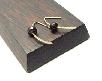 Hermosa Garnet Flattened Ribbon Hook Earrings