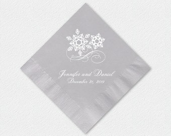 Winter Wedding Beverage or Luncheon Napkins | Featuring Snowflakes And Custom Text | Napkin Color And Text Color Options Available