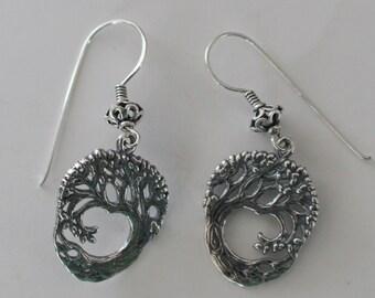 Sterling Silver TREE OF LIFE Earrings - Celtic