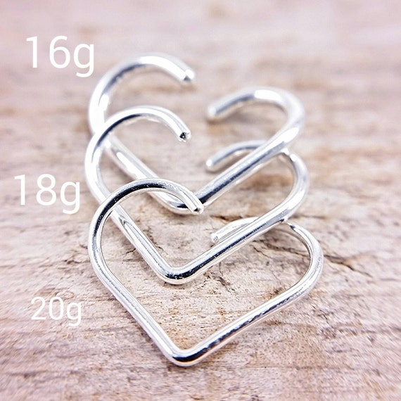Helix Heart Earring Sterling Silver 14k Gold Rose Gold