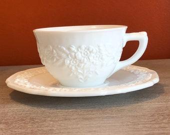 Floral Milk Glass tea cup and saucer set