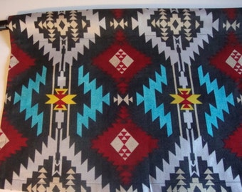 Southwest Valance with Red, Turquoise, Silver on Black Curtain Custom Made