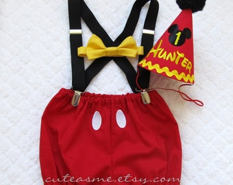 First Birthday Boy Cake Smash Cake Outfit 1, 2, 3 or 4 Piece Set Mickey Mouse Outfit Diaper Cover Tie Suspenders Party Hat Bow Tie Bloomers