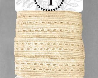 Naturally Dyed Organic Cotton Lace, 20mm wide - Sand *sold by the 5m card*