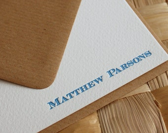 Men's Personalized Letterpress Note Cards, Men's Custom Stationery, Custom Letterpress Stationery