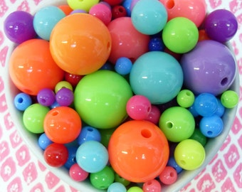 45x 20 - 6mm Resin Multi color Globe beads ..  Bubblegum Fun