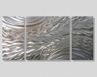 Silver Modern Metal Wall Art - Contemporary Metal Wall Sculpture - Silver Accent Decor - Positive Energy III by Statements2000