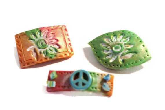 Hair Barrette Hair Clip Barrette Festival Accessory Hippy Style Bitsy Barrettes Polymer Clay Barrettes Sun-Kissed Peace Sign, Boho Barrettes