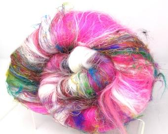 Carded Batt Wild Rose Garden Dyed fine Merino Wool Rose  & Silk Blend 100g