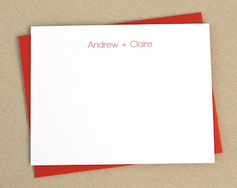 Couples' Stationary / Simple Modern Personalized Flat Stationery Cards with Names / Modern His and Hers Stationary Set
